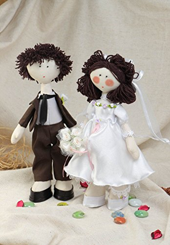 Handmade Textile Dolls In The Form Of The Bride And Groom Made Of Cotton Fabric
