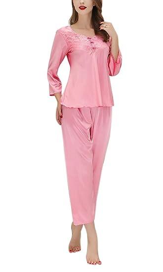 da88c7f6a921f Aivtalk Femme Elégant Ensemble de Pyjama Manche Longue avec Dentelle en  Satin Pantalon Longue Vêtement de