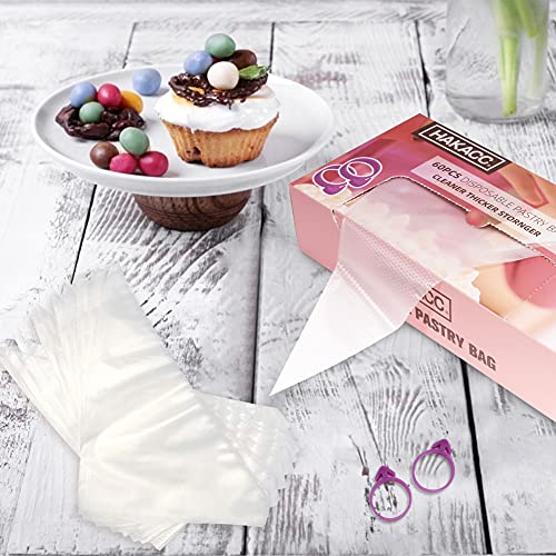 HAKACC Disposable Pastry Bags,120PCS Plastic Icing Bags with Dispenser Packaging