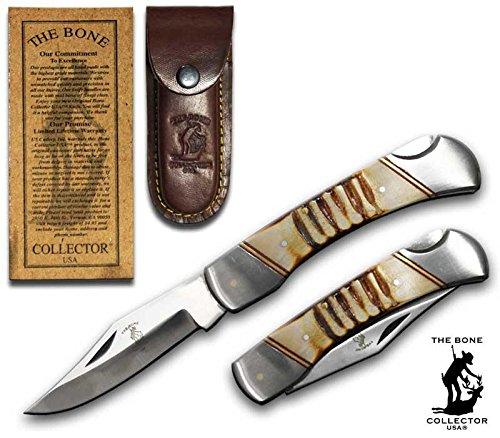 "Bone Collector 8.5"" The Lock Back Pocket Folding Knife Authentic Bone Handle with Leather Sheath Lockback Camping Fishing"