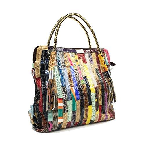Striped Large Multi color Shoulder Women's Messenger Tote Bag Stitching capacity Yjiujiu Leather Multicolor EwxSqOgw