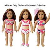 9PCS Underwear Doll Clothes- 3xTop + 3xUnder + 1xHairClip + 1xShoes +1xHead Flower Outfit for 18 inches American Girl Doll