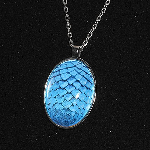 Dragon Scale / Egg Pendant – Necklace – Light Blue – mermaid scales, game of thrones