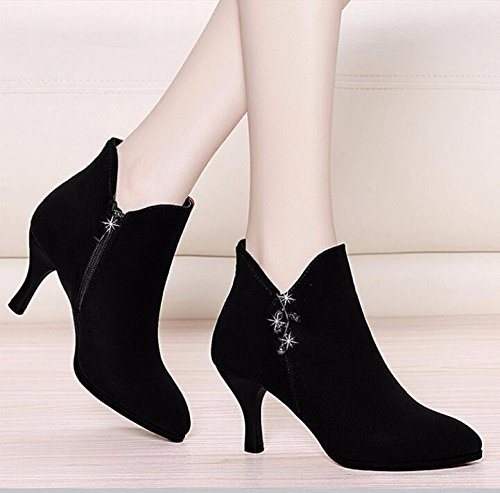 KHSKX-The New High Heels High Heels And All-Match Pointed With A Fine Boot Heel Shoes And Cashmere Winter Scrub Forty-one Q9kNa1