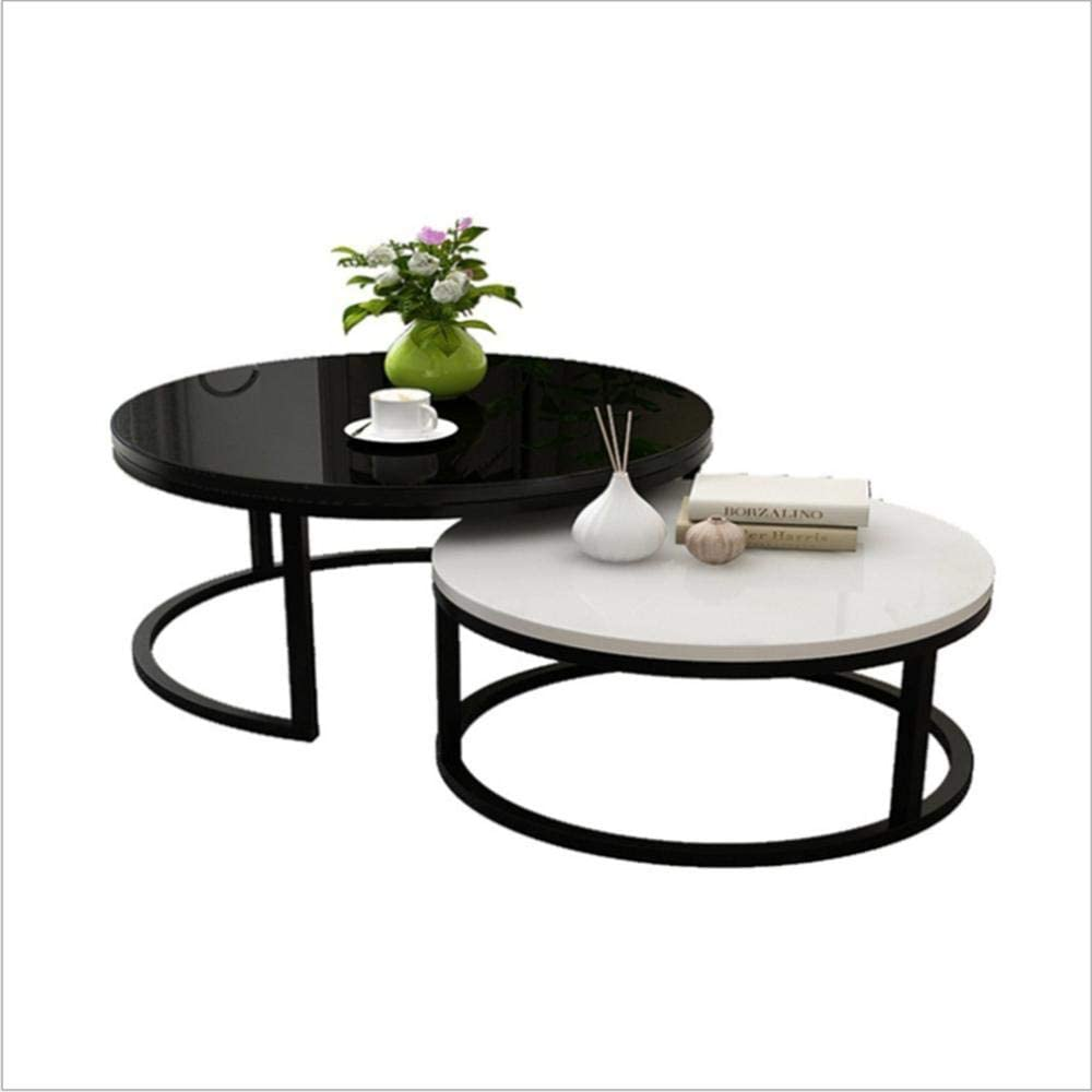 - Nesting Set Of 2 Coffee Table With Glass Top, Round Metal Black