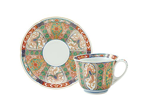 Cup and Saucer with wooden box chinese brocade pattern 45027210, Asian, Oriental, Japanese dish plates Traditional Collection/Yamashita Craft