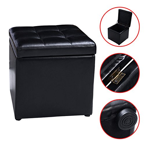 Cube Ottoman Pouffe Storage Box Lounge Seat Footstools with Hinge Top New (Cane Ottoman)