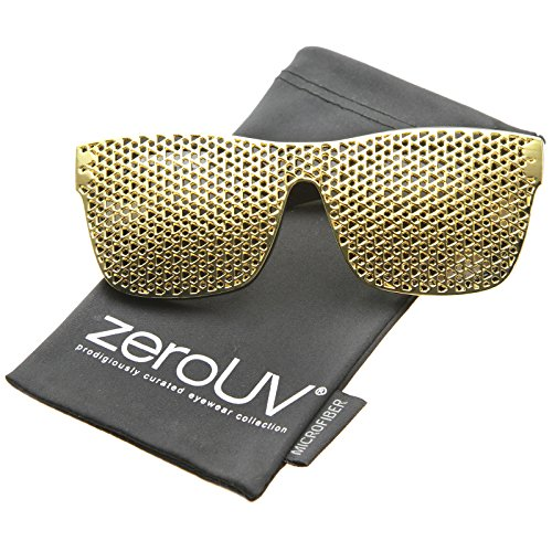 zeroUV - Futuristic Magnetic Clip On Lens Square Flat Top Horn Rimmed Sunglasses 63mm (Black-Gold / - Sunglasses Kanye
