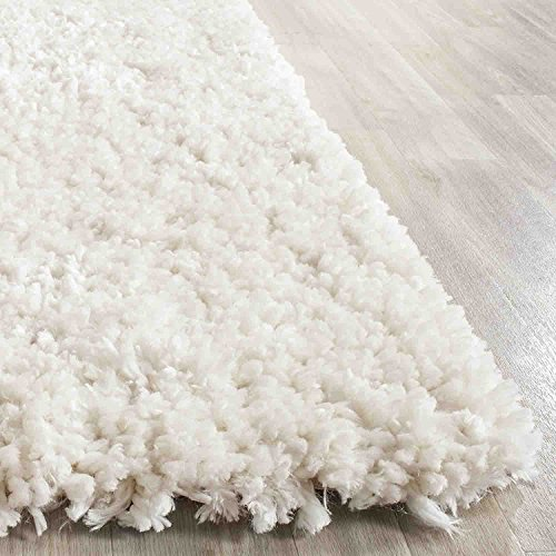 Off White Cream 8'x10' Art Deco' Design Shaggy Luxurious elegant Area Rug Hand Tufted, Bedroom Living Room Deco'r (Popcorn Off White) ()