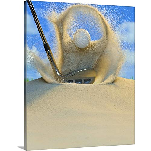 Sand Wedge Hitting a Golf Ball Out of a Sand Trap Canvas Wall Art Print, 11