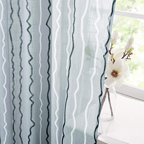KGORGE Striped Line Sheer Drapes - Linen Texture Fabirc Semi Translucent Voile Curtains for Living Room Bedroom Kids Nursery Home Office Decor, Blue Fog, 52 inches Wide x 84 inches Long, 2 Panels from KGORGE