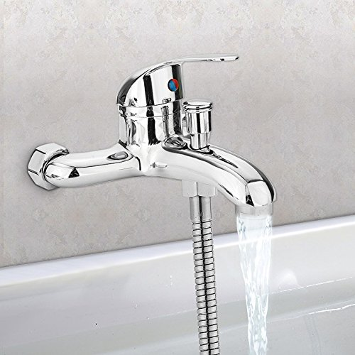 nc alloy Chrome Wall Mounted Hot Cold Water Dual Spout Mixer Tap Faucet Bath Shower Basin (Mounted Basin Spout)