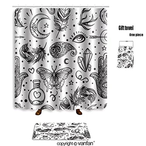 vanfan bath sets with Polyester rugs and shower curtain seamless pattern of ornamental boho style ele shower curtains sets bathroom 72 x 108 inches&31.5 x 19.7 inches(Free 1 towel and 12 hooks)