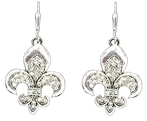 FLEUR DE LIS Earrings are Embellished with Clear Crystal Rhinestones.Celebrate New Orleans!