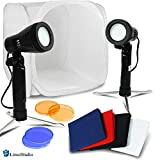 LimoStudio 25'' Photo Shooting Box White Tent with Color Backdrops, 2 Sets of Table Top Mini Light Stand Kit, Ecommerce Product Photo Shoot, Professional Image Creating Studio, AGG2288