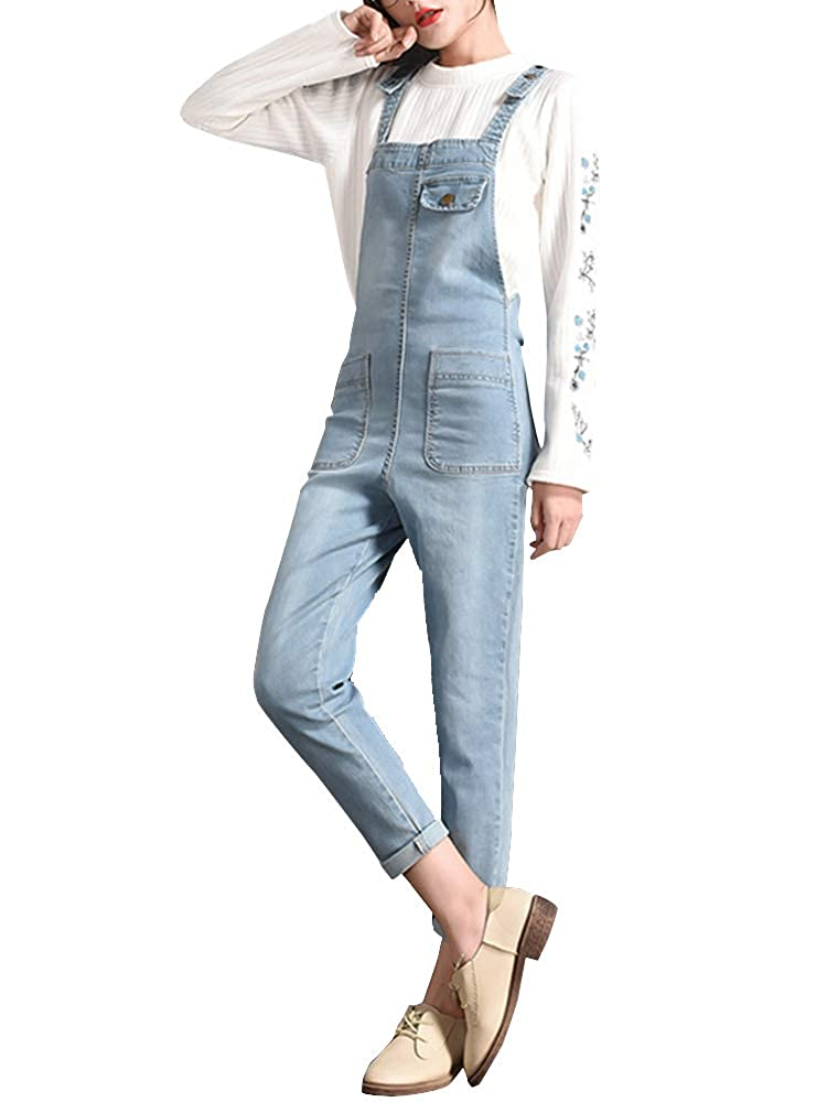 Sobrisah Women's Retro Loose Casual Jeans Dungarees Sleeveless Playsuit Ankle Length Denim Overall Jumpsuit