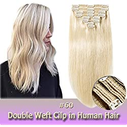 Clip in Human Hair Extensions Platinum Blonde 14 Inch Double Weft Thick 120g 8pcs 18 clips on 8A Grade Soft Straight 100% Remy Hair (Platinum Blonde #60,14'')