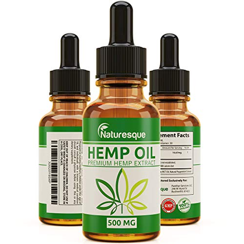 Hemp Oil for Pain Relief – 100% Organic Hemp Extract Tincture, Helps Reducing Pain, Anxiety and Stress – Rich in MCT…