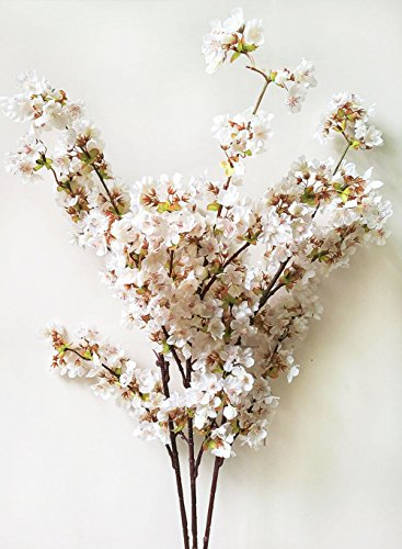 39 Inch Romantic Artificial Branches of Peach Cherry Blossom Silk Flowers Home Wedding Decoration Flower (3 pcs White)