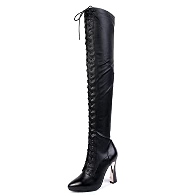 3c1ecc4e85a Nine Seven Genuine Leather Women s Round Toe Stiletto Heel Platform Lace Up  Handmade Knee High Boot