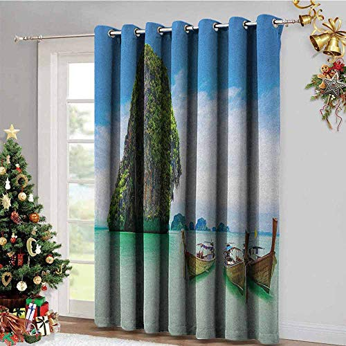 Island Kitchen Gromets Curtain and Valances Set Bedroom Decor, Limestone Rock in The Sea with Boats Tranquil Heaven Coast with Horizon Off Nature Photo Insulating Darkening Curtains, Multi, W72 x L7
