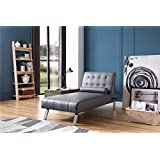 NHI Express 90026-11GY Convertible Chaise Lounger, Sitting dimensions: 63L x 31W x 33H Sleeping dimensions: 69.5L x 31W x 16H, Gray