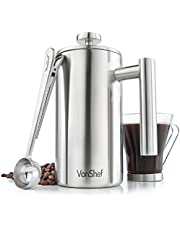 VonShef French Press Brushed Stainless Steel Double Walled Cafetiere Coffee Maker with Spoon and Filter