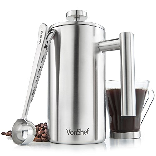 VonShef Double-Wall Keep Warm Satin Brushed Stainless Steel French Press Cafetiere Coffee Filter(6 Cup w/ Measuring Spoon and Sealing Clip). Available in sizes 3, 6 and 8 Cup Double Coffee Warmer