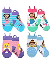 Kids Toddler Socks, Non Skid Grippers, Seamless Toe and Ez Pull Up Loops (3-5 years, Mermaids-Princess Fairy)