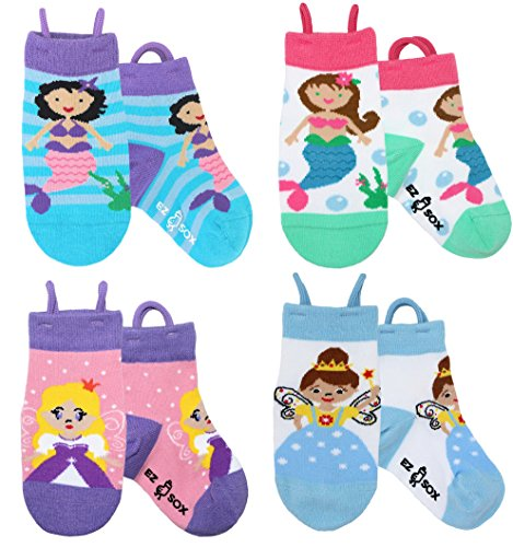 Ez Sox Toddler Girls Socks Non Skid Seamless Toe Anti Slip Grip Pull Up Loops (Medium, Mermaids-Princess Fairy)