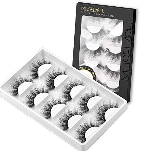 MUSELASH 3D False Eyelashes,5 Pairs Faux Mink Lashes Pack Handmade,Luxurious Volume Fluffy Soft Reusable Fake lashes for…