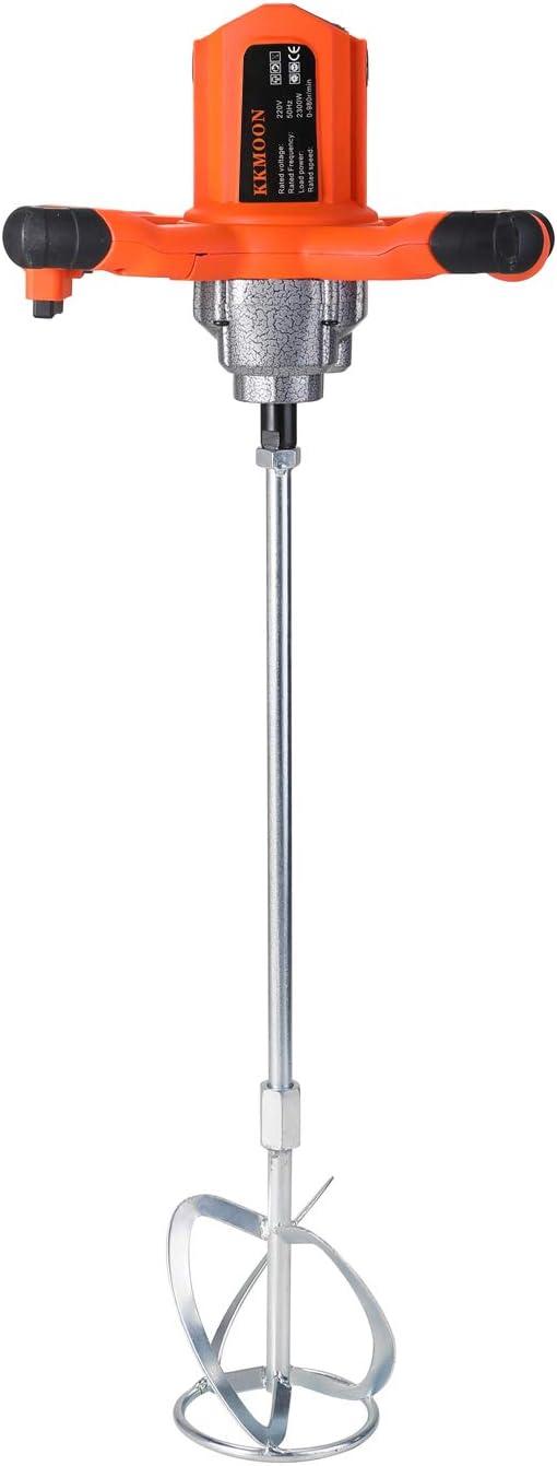 KKmoon Mezclador para Pintura y Argamas Mortero,Batidor Eléctrico de Pintura,Agitador Industrial de Alta Potencia,Velocidad Variable de 6 Tipo, 50/60Hz 0-980rpm 2300W