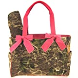 Pink Camo Camouflage Tote Purse Diaper Bag with Soft Velvety Feel