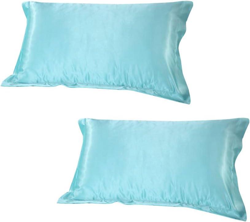 Violet 48 x 74cm Lot de 2 Taie doreiller en Soie Satin Super Douce+Pochette Protection en Organza-48 x 74cm