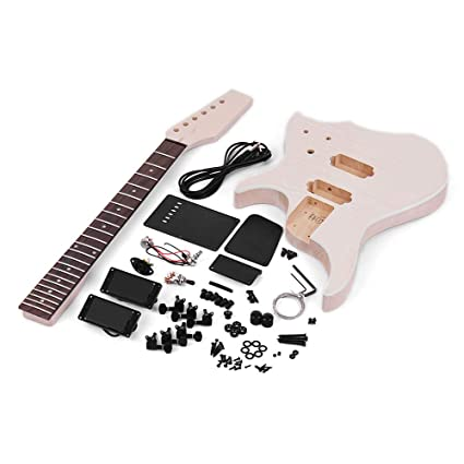 Festnight Unfinished DIY Guitarra Eléctrica Kit, Accesorios de Guitarra Diapasón Pickup Basswood Guitar Body