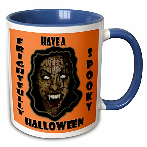 3dRose RinaPiro - Halloween Quotes - Have a frightfully spooky Halloween. Funny Halloween quotes. - 15oz Two-Tone Blue Mug (mug_218446_11)]()