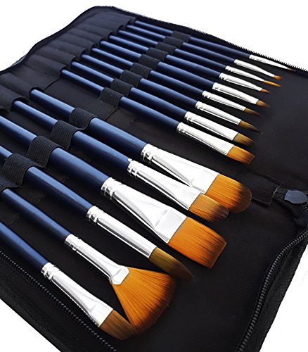 MozArt Supplies Watercolor Paint Brush Set - 15 Assorted Synthetic Hair Paint Brushes - Includes Portable Case With Brush Stand, Artist Grade by MozArt Supplies