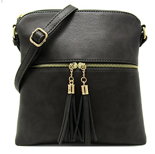 Faux Charcoal Medium with Gray Weight Rich Strap Light Large Purse Crossbody Leather Bag Women's Capacity and Organize Adjustable Shoulder 5HTBq4n