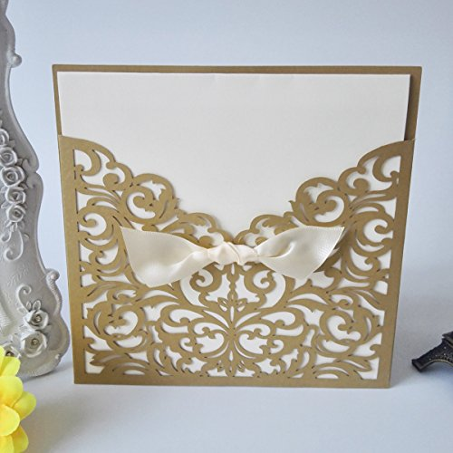 50PCS Pear Paper Laser Cut Bronzing Wedding Baby Shower Invitation Cards with Butterfly Hollow Favors Invitation Cardstock for Engagement Birthday Graduation (OMK-Square Gold)
