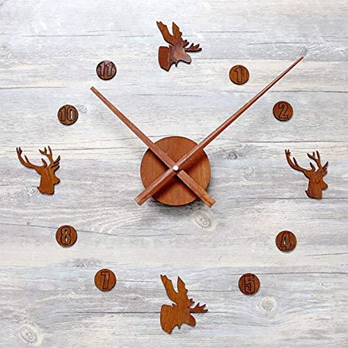 GZMEI Creative Retro Rusted DIY Wall Clock European Style Nostalgic Elk Head Quiet Big Wall Clock - Elk Cuckoo Clock