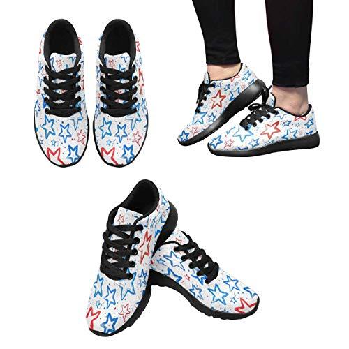 Design Running and Sports Stars 5 Shoes Walking Red InterestPrint Women's Blue 7qwBBz