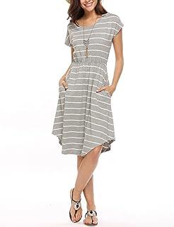 cc274667edc0 Qearal Women Summer Short Sleeve Striped Loose Swing T-Shirt Midi Dress  with Pockets
