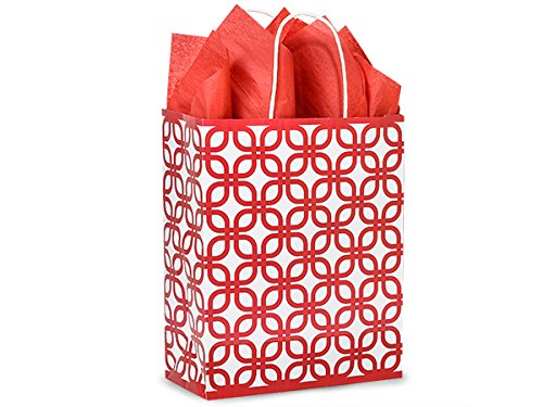 Shopping Gift Bags 250 Count - Geo Graphics - Carrier - Red by Nashville Wraps