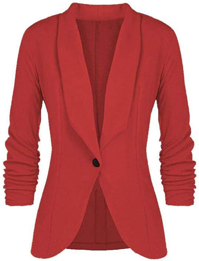 Meaneor Damen Blazer Cardigan 3//4 /Ärmel Elegant Leicht Bolero Jacke Blazer Slim Fit Anzug D/ünn Business Jacke Blazer