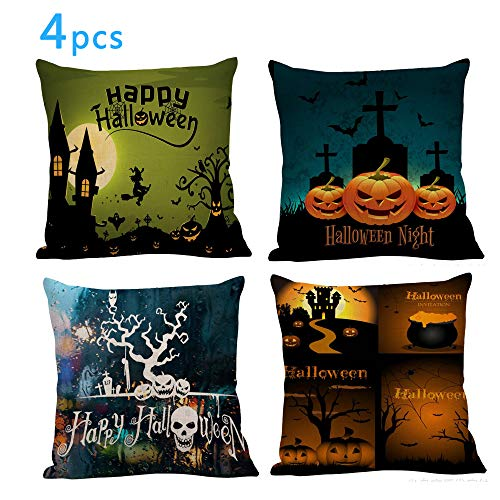 Wocst Set of 4 Throw Pillow Covers,18 x 18 Inch Square Cotton Linen Cushion Covers for Halloween Sofa Home Decorative for $<!--$12.99-->