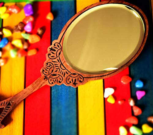 Hashcart Beautifully Handcarved Sheesham Wood Hand-Held Mirror for Your Dressing Table/Make-Up kit/Hand Bag/Beauty Accessories (Brown) (Antique Hand Mirror)