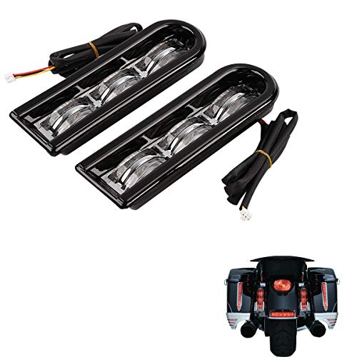 XMT-MOTO Saddlebag Supports LED Light Inserts fits for Harley Davidson Touring models 2014-later,Black Housing/Clear Lens/Red Light