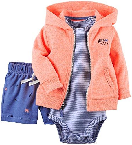 (Carter's Baby Boys' 3 Piece Cardigan Set 121g414, Neon Orange, 18)