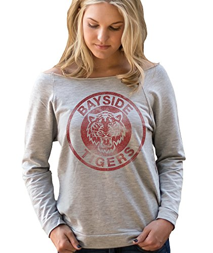 Superluxe Clothing Womens Vintage 80s / 90s Style Bayside Tigers TV Kelly Kapowski Raw Edge Off the Shoulder Top, Medium, Heather Grey ()