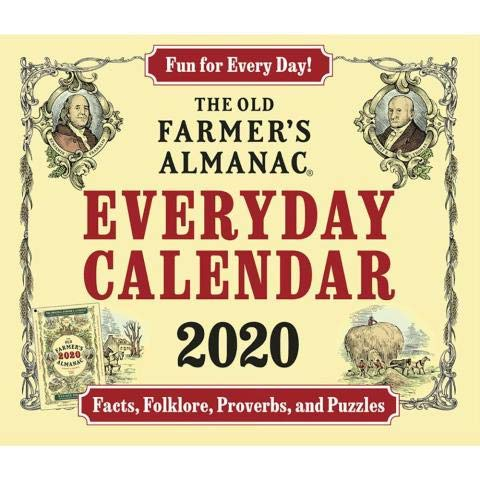 2020 Old Farmer's Almanac Everyday Facts, Folklore, Proverbs and Puzzles Daily Desk/Box Calendar (Furniture Farmer Home)